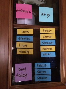 Move the stickies to create your own prayer each day.
